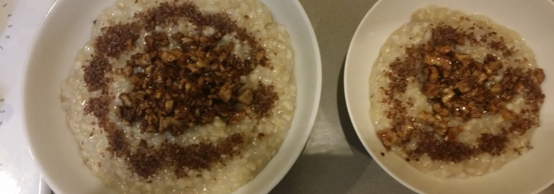 Oats and Sweet Rice – Topped with Sweet Cinnamon Walnuts